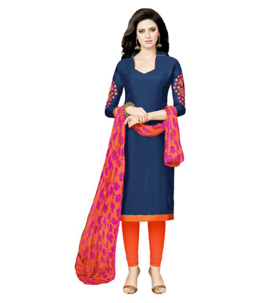 Saree Mall Navy Chanderi Dress Material