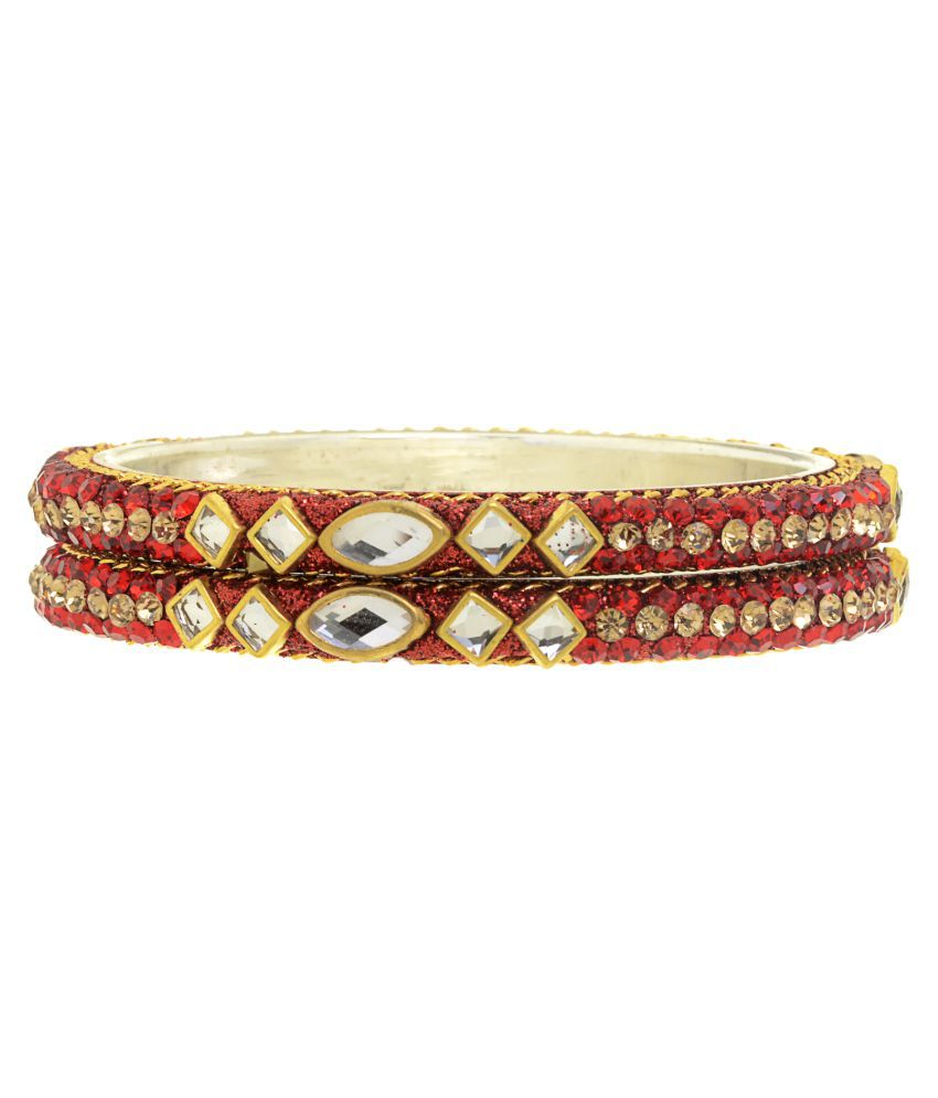 The Ethnic Wears Stones Embellished Silver Bangles Set For Women