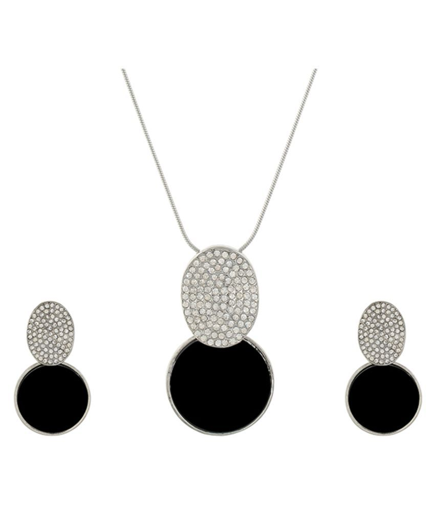 One Stop Fashion Black and Silver colour Round design Pendant Set for girls and women
