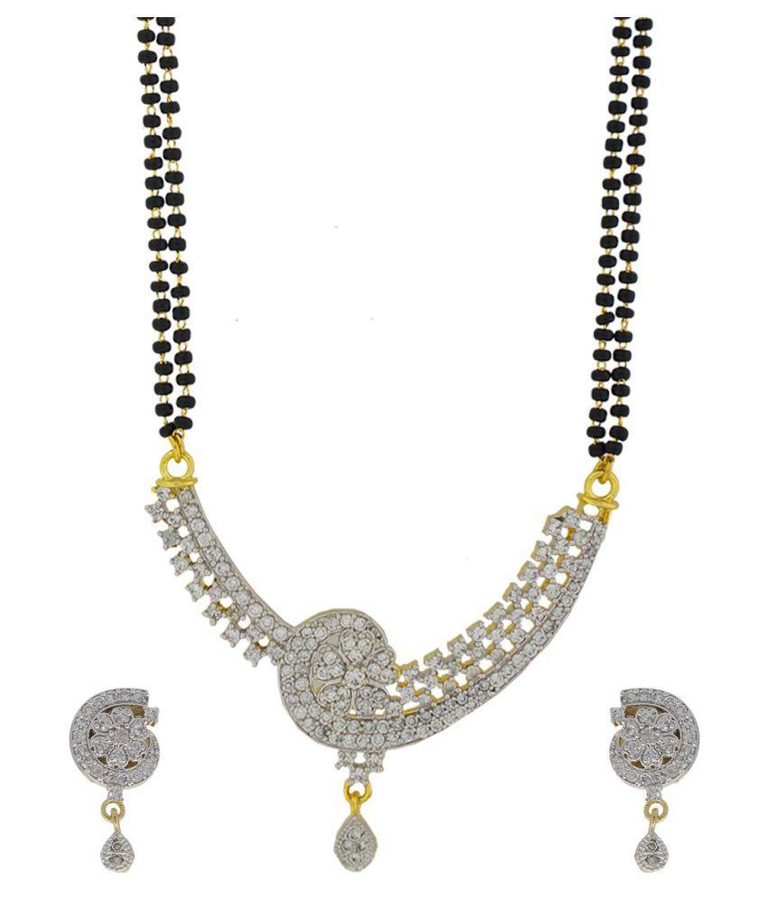 Anuradha Art Presenting Golden Finish Stylish Studded With American Diamonds Mangalsutra Set For Women
