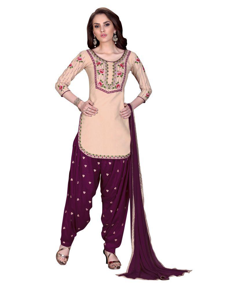 Urban India Beige Cotton Dress Material