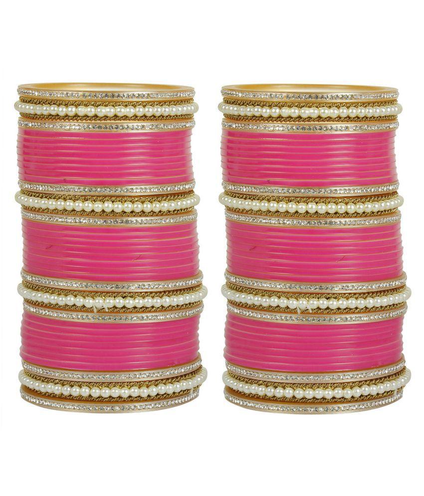 MUCH MORE Beautiful Fuschia Color Stuning Bridal Chura Set For Women  Wedding Jewelry