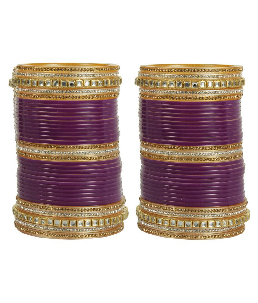 MUCH MORE Ethnic Design Made Beautiful Charm Look Bridal Chura Bangle Set For Women