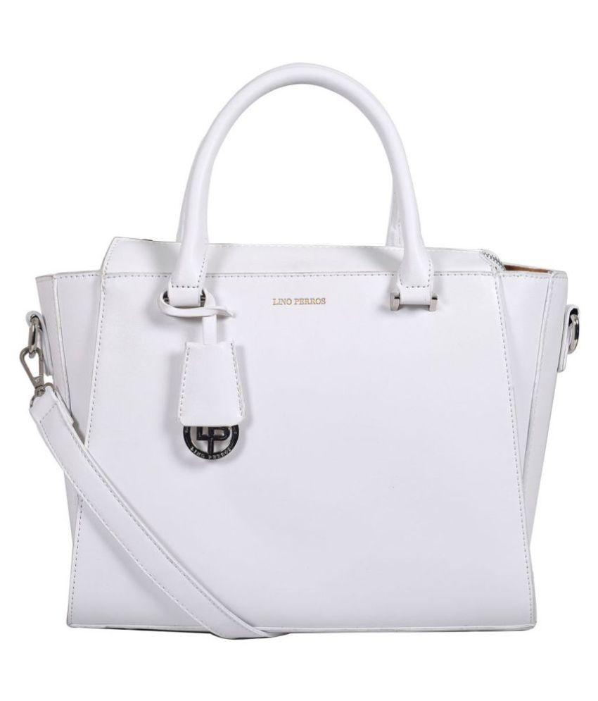 Lino Perros White Faux Leather Shoulder Bag