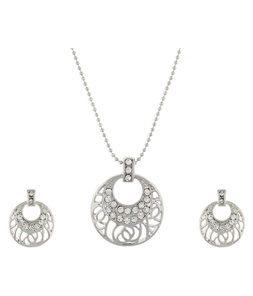 One Stop Fashion Silver colour Round design Pendant Set for girls and women