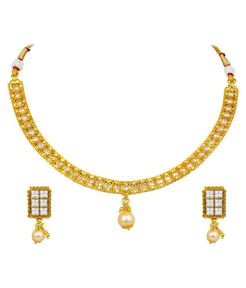 Om Jewells Light Simple Geometric Design Crystal Ethnic Choker Necklace Set NL1000527