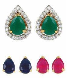 Jewels Gehna Alloy Non-Precious Colored Changeable Stylish Earrings Set For Women & Girls