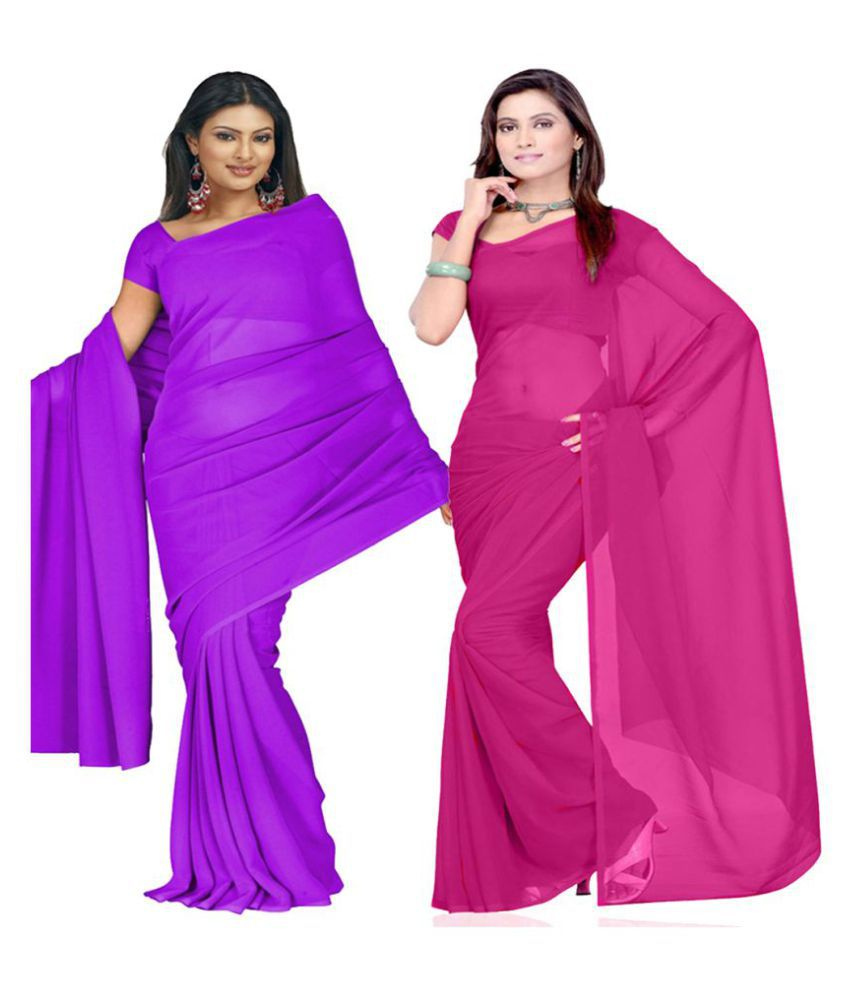 RK Fashions Pink and Purple Georgette Saree
