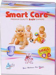 SAIFY HEALTHKART PRESENTS SMART CARE SUPER ABSORBENT, Skin friendly, Premium Quality Small Size Baby DIAPER 90 PCs.