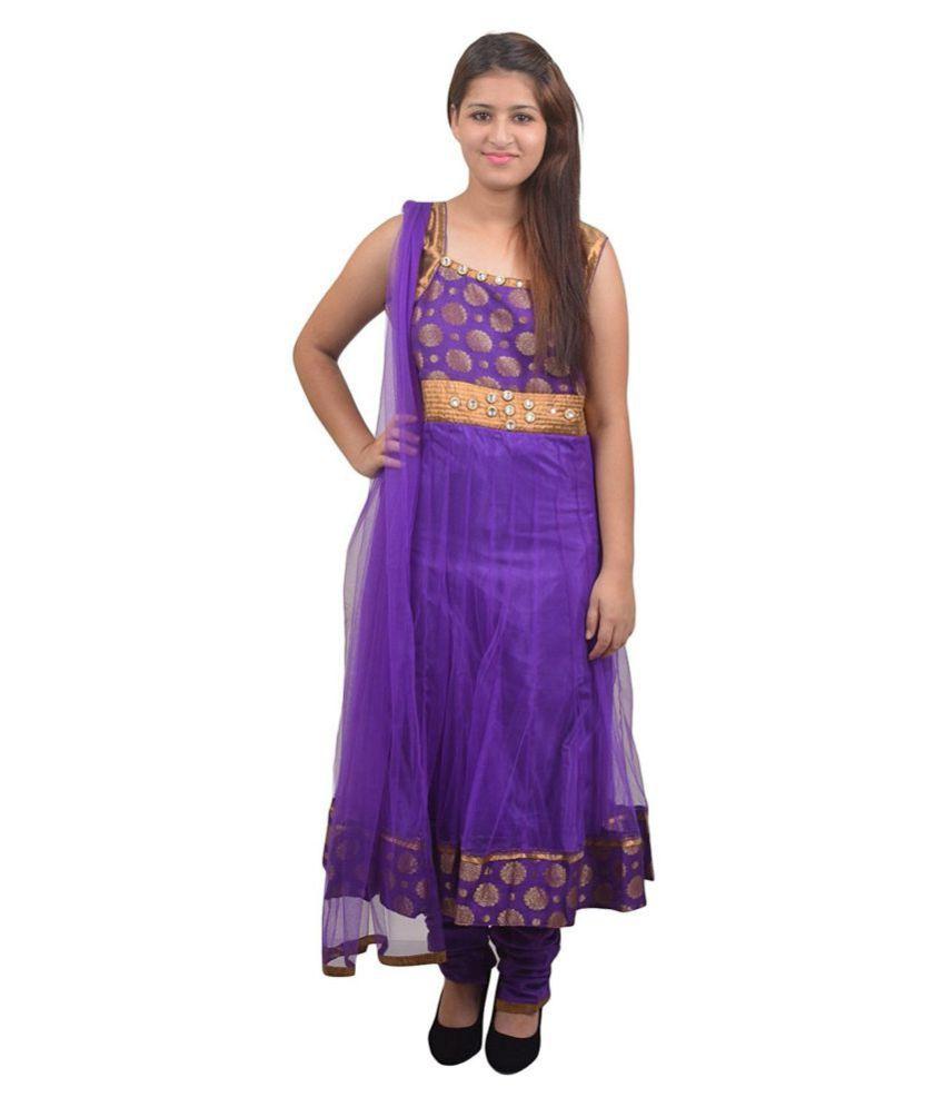 Manashi Blue Net Anarkali Stitched Suit