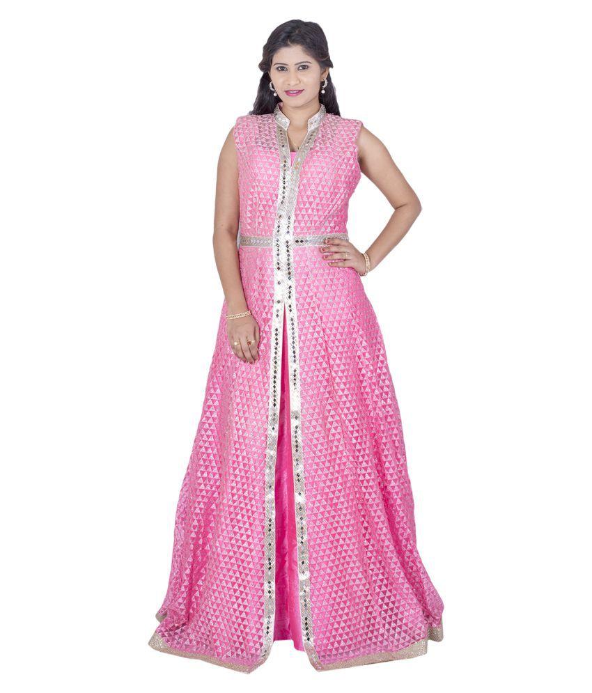 Ajahara Pink Net Anarkali Stitched Suit