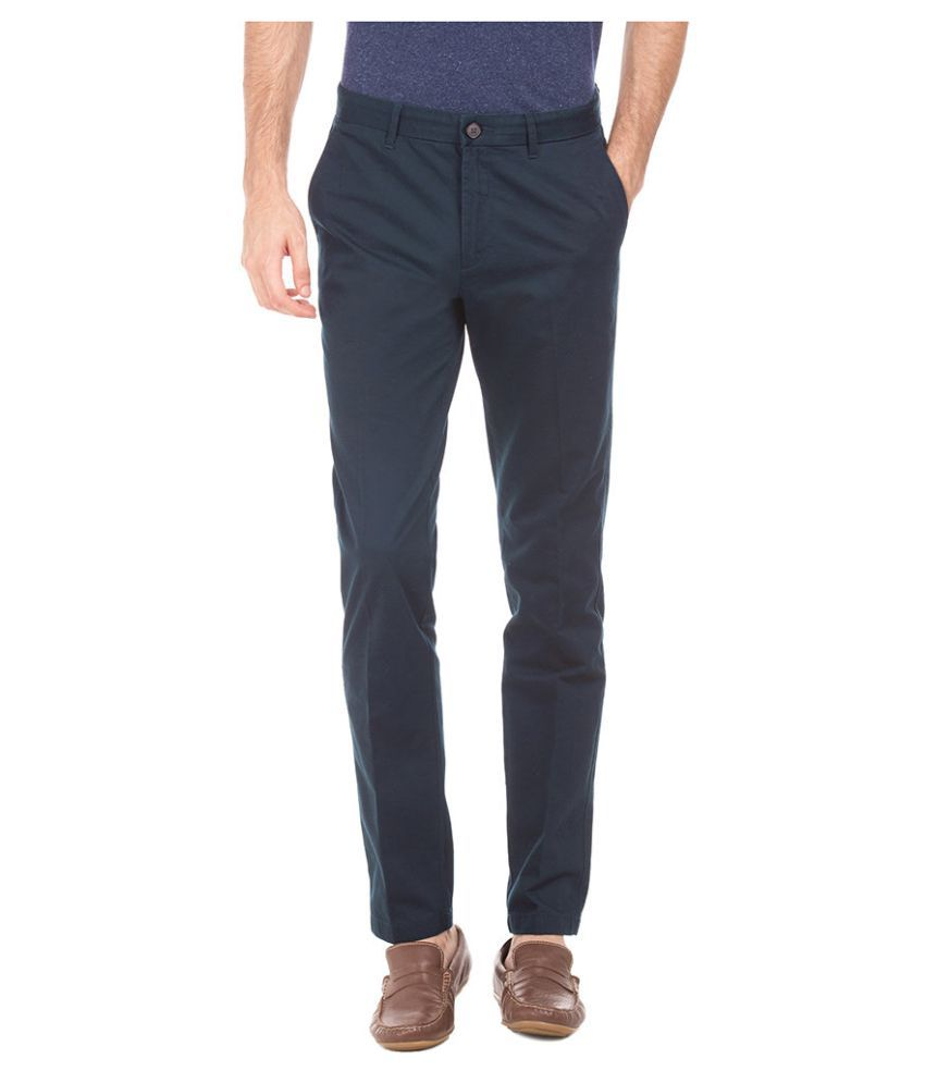 U.S. Polo Assn. Blue Slim -Fit Flat Trousers