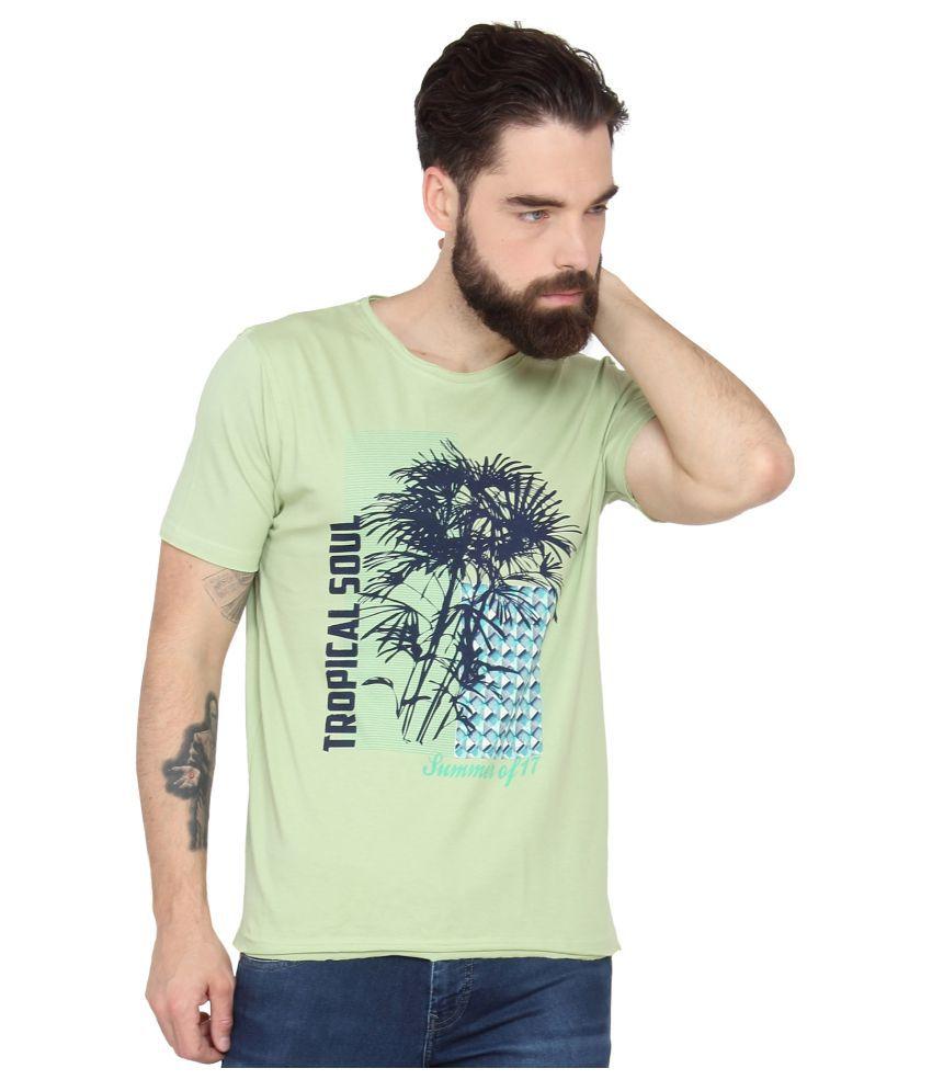 Slub Green Round T-Shirt