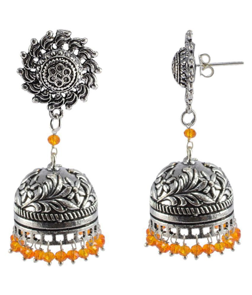 Silvesto India Handmade Texture Round Surya Jhumka Earrings-Fashion Wear Jewellery Collections PG-108859