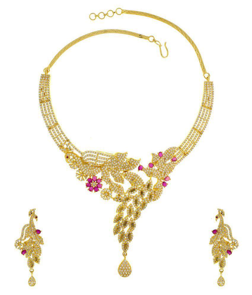 Anuradha Art Pink-Gold Colour Designer Wonderful American Diamond Stone Classy Fancy Necklace Set For Women/Girls