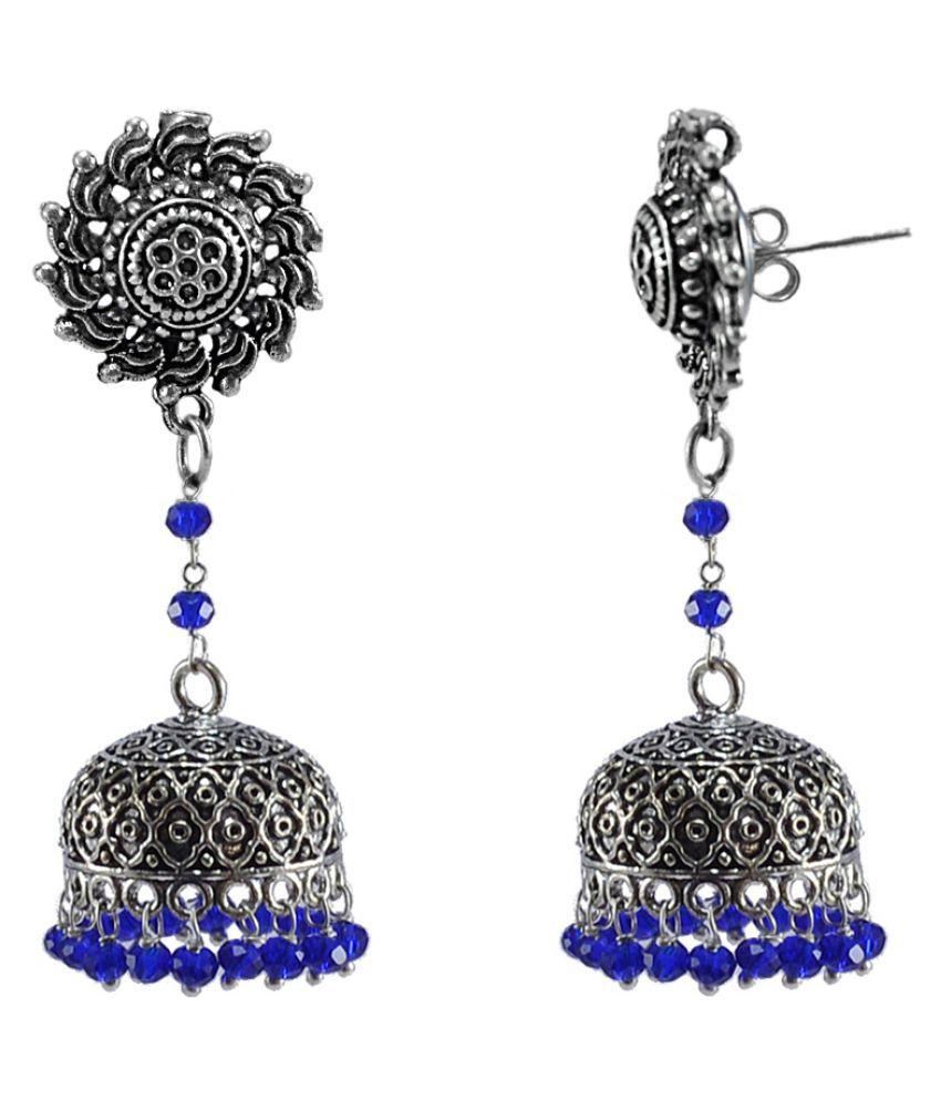 Silvesto India Rajasthani Tribal Jewelry-3 mm Blue Crystal Hanging Surya Studs Jhumki Earrings PG-113453