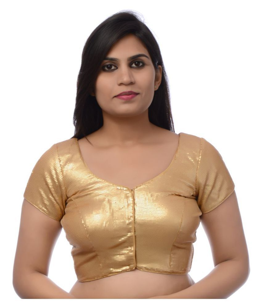 Atulya Designer Blouse Gold Sequin Readymade with Pad Blouse