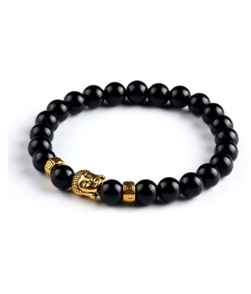 Onyx Stone -Natural Gem/Semi Precious Stones & Gold Plated Buddha Bracelet for Unisex - From Hot And Trendy