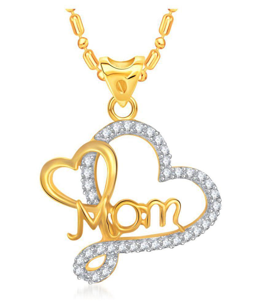 73e1c8ec7 VK Jewels Mother's Heart Gold and Rhodium Plated Mom Pendant - P1385GA  [VKP1385GA]: Buy VK Jewels Mother's Heart Gold and Rhodium Plated Mom  Pendant ...