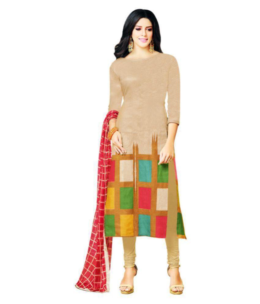 36098bd84 Wommaniya Impex Beige Cotton Straight Semi-Stitched Suit - Buy Wommaniya  Impex Beige Cotton Straight Semi-Stitched Suit Online at Best Prices in  India on ...