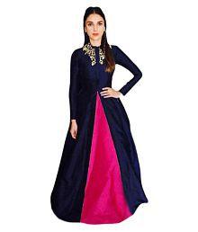 New Designer Blue Bangalore Silk Anarkali Gown Semi-Stitched Suit