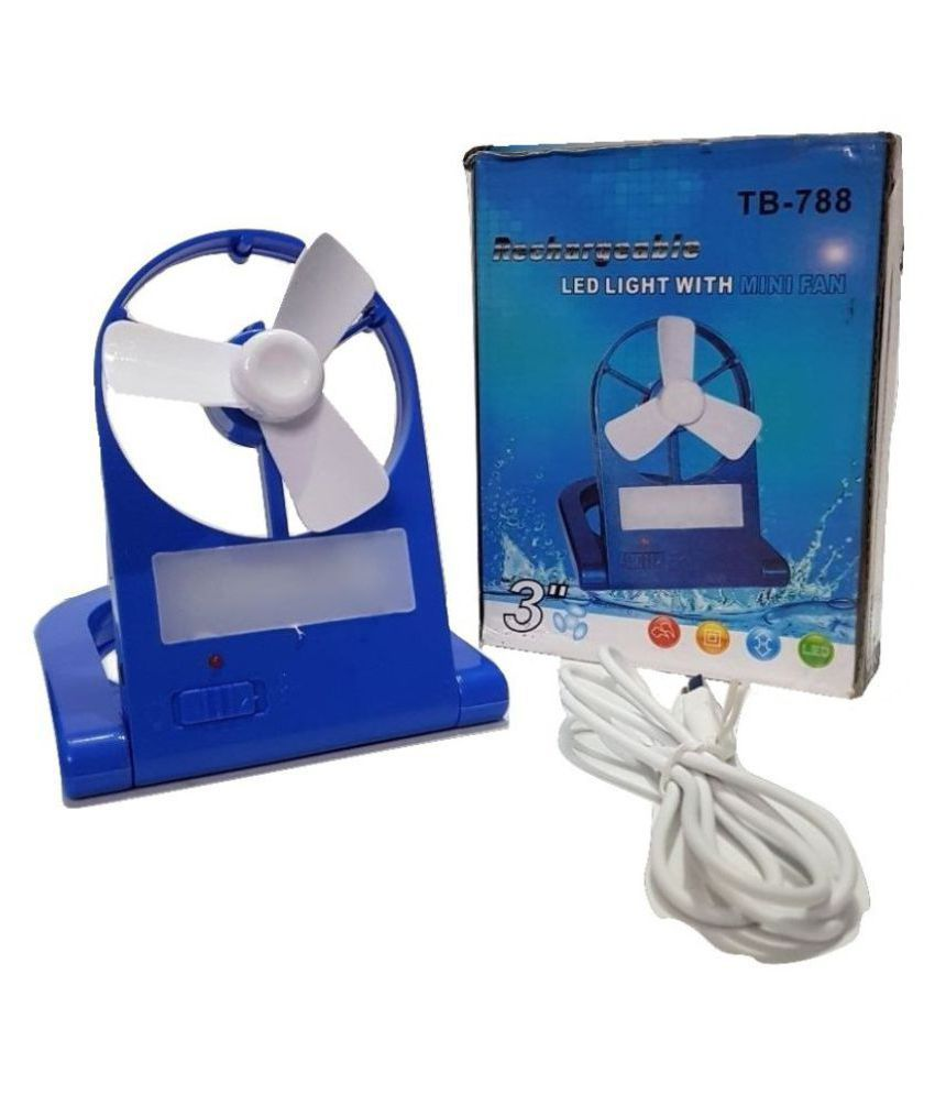 Ibs USB Fan Blue Pack of Pack of 1 RECHARGABLE CORDLESS MINI EMERGENCY COOLING