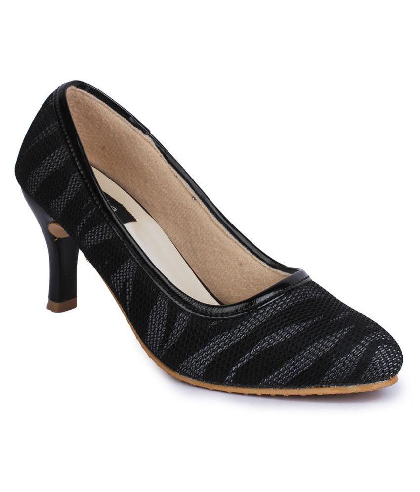Naisha Black Kitten Heels