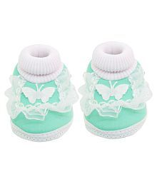 Neska Moda Baby Boys & Girls Frill Butterfly Mint Booties For 0 To 12 Months Infants