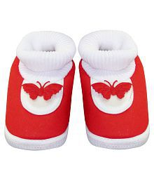 Neska Moda Baby Boys & Girls Butterfly Red Booties For 0 To 12 Months Infants