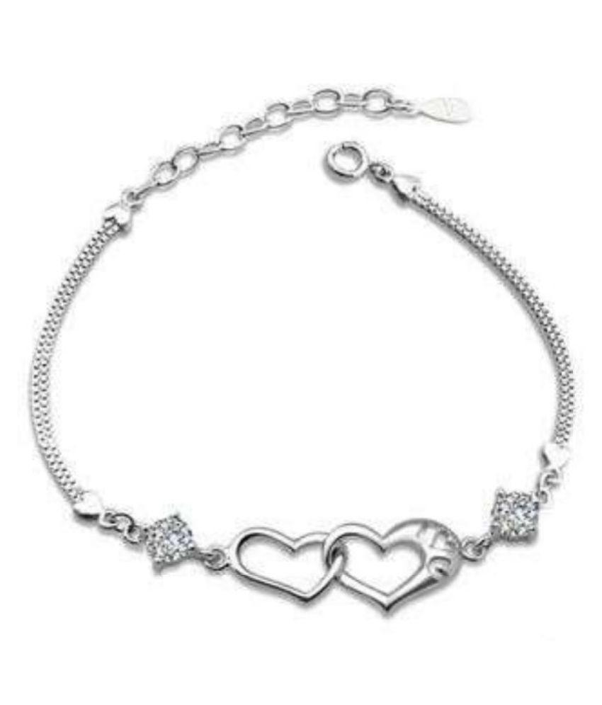 Sterling Silver Loving Double Heart Swarovski Crystal Bracelet For Women &  Girls