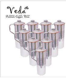 Veda Home & Lifestyle VEDA COPPER BOTTLE Silver 10000 Ml Fridge Bottle Set Of 10 - 657987520186