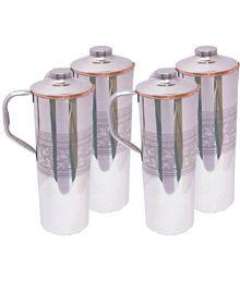 Veda Veda Copper Bottles Silver 4000 Ml Fridge Bottle Set Of 4