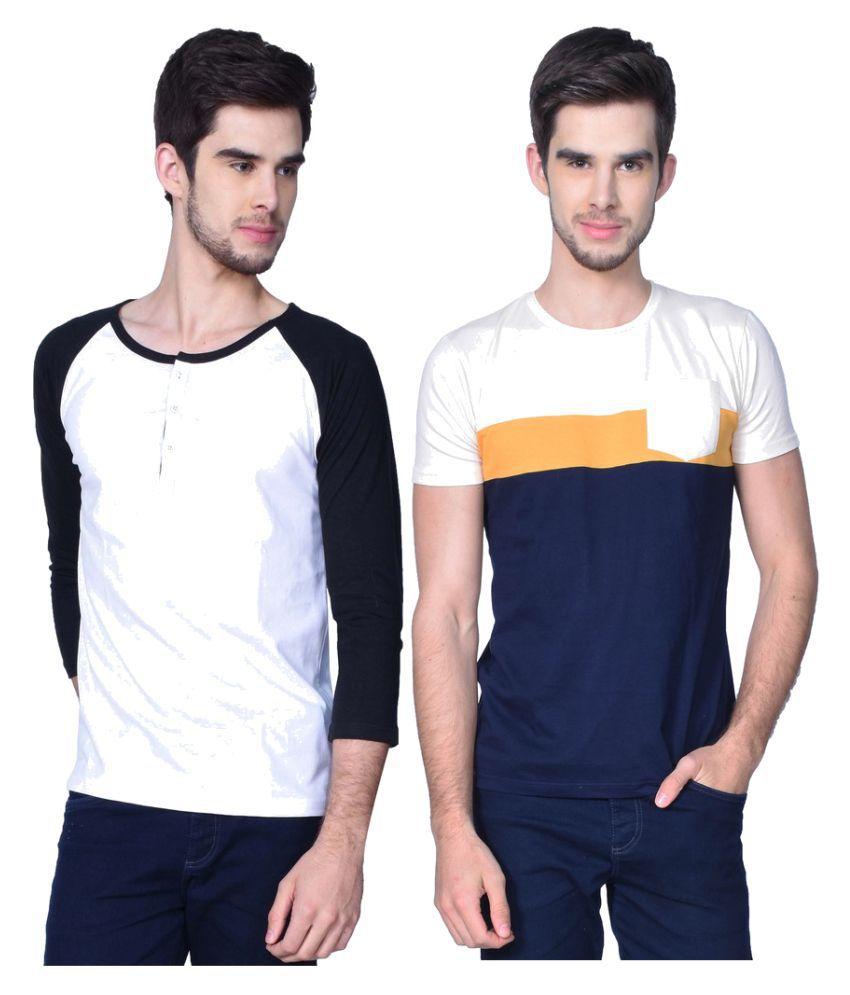 GliZt White Henley T-Shirt Pack of 2