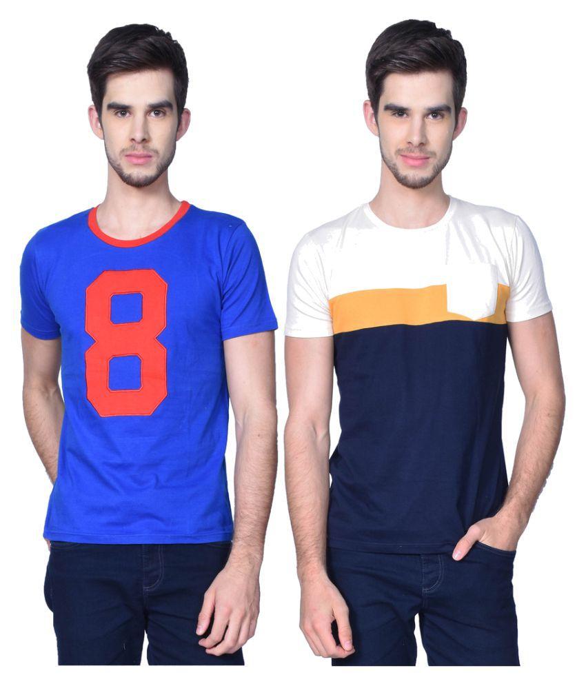 GliZt Blue Round T-Shirt Pack of 2