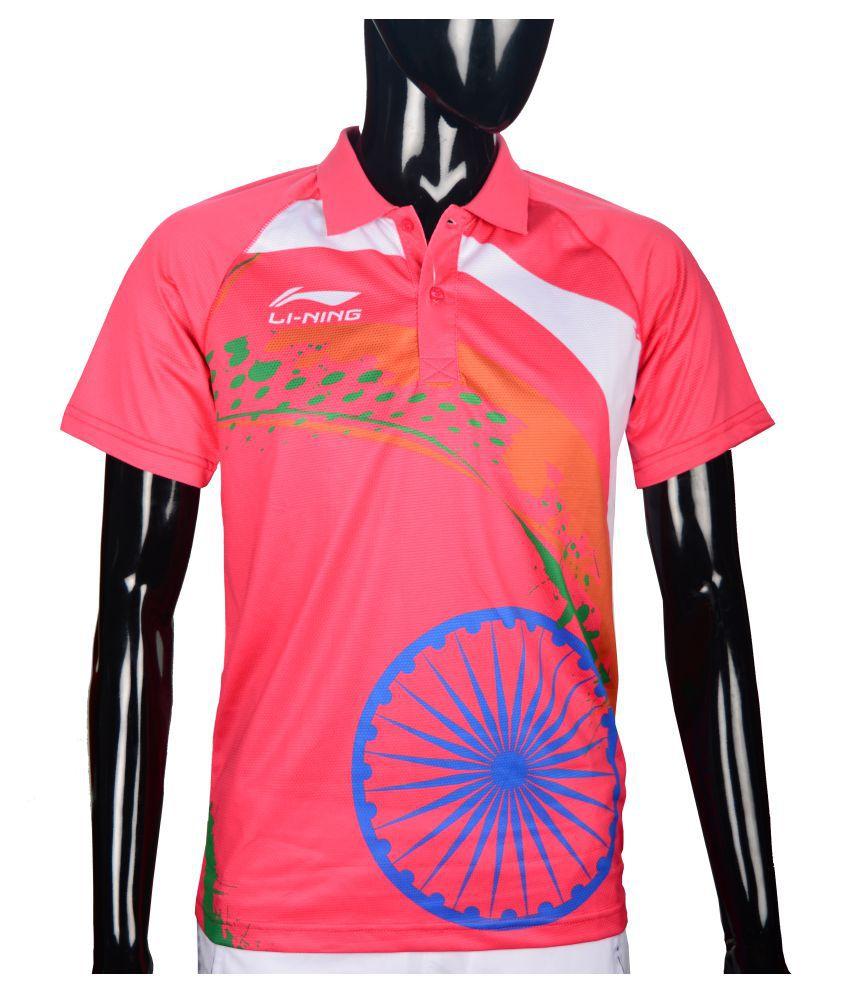 Li-Ning Pink Polyester T-Shirt Single Pack