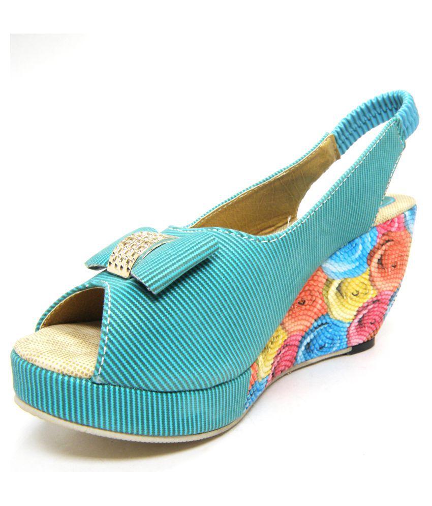 Looks Footwear Green Wedges Heels