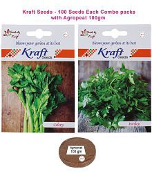 Celery Veg And Parsley Veg Combo Seeds With Agropeat 100gm By Kraft Seeds