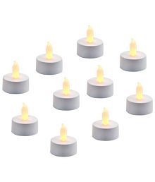 Home Shop Retails LED Tea Light Candles(Pack Of 10) LED T-lite Silver - Pack Of 10