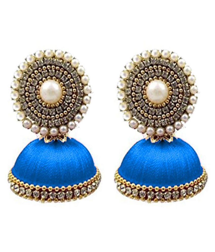 grabkaro jumka thread earrings product for silk women n designer