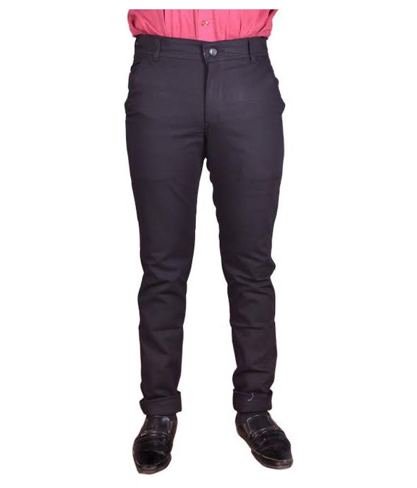 Just Trousers Black Regular -Fit Flat Trousers