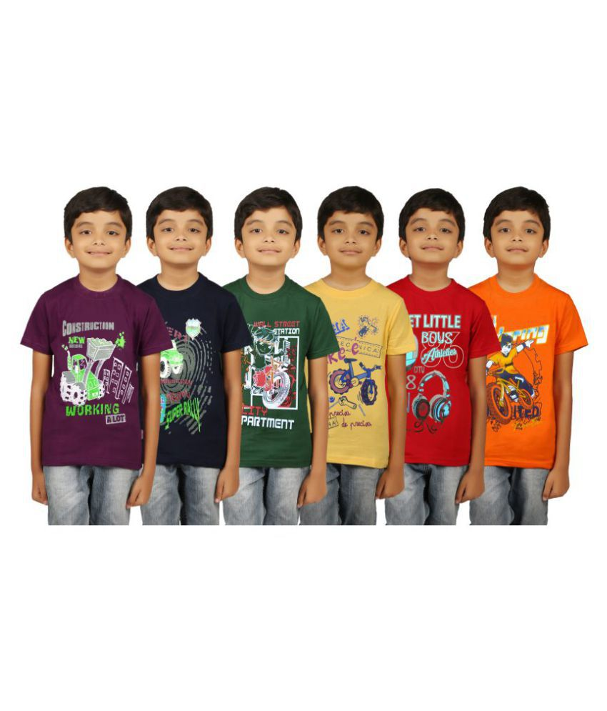 Kiddeo Multicolour Cotton T-Shirt - Pack of 6