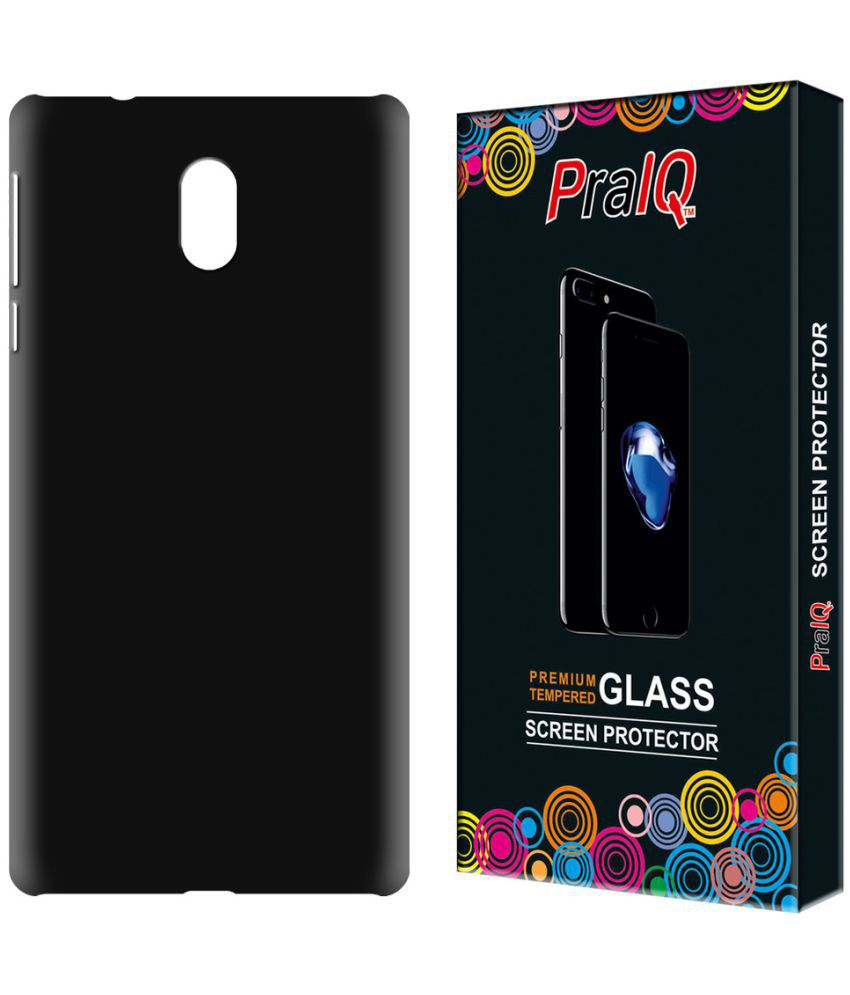 huge discount d23f3 fc016 Nokia 3 Rubberised Matte Hard Case Back Cover with Tempered Glass Combo-  Black by PraIQ