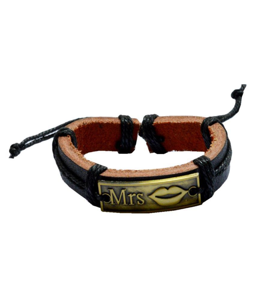 Men Style Genuine Leather Mrs. Square Adjustable Cotton Dori Wristband Black and Brown Leather And Bronze Bracelet For Men and Women