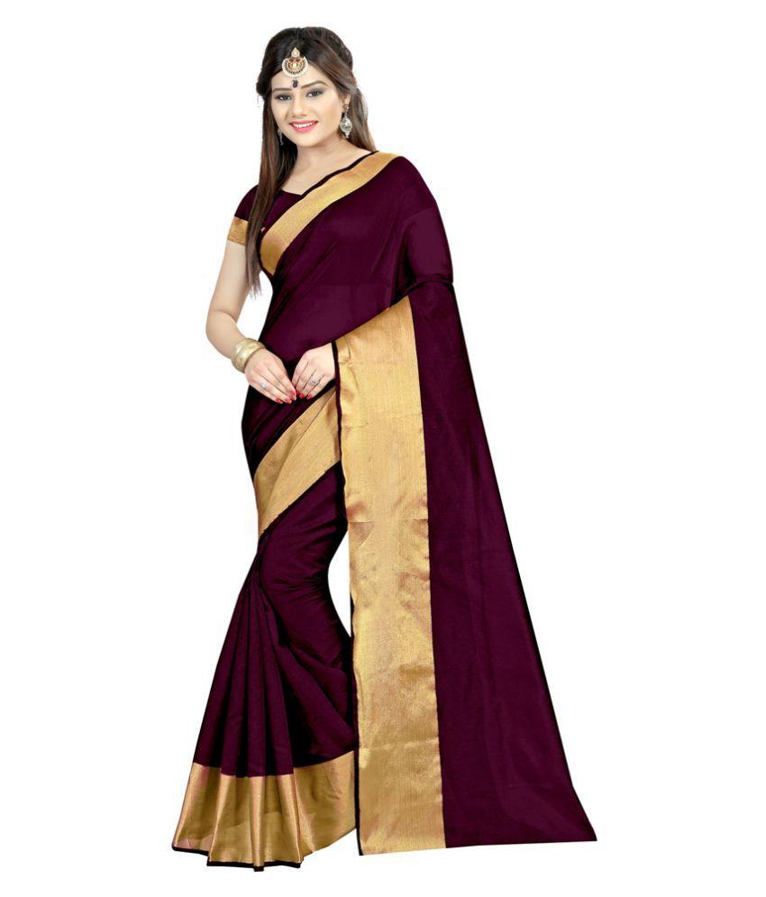 High Glitz Fashion Brown Cotton Saree