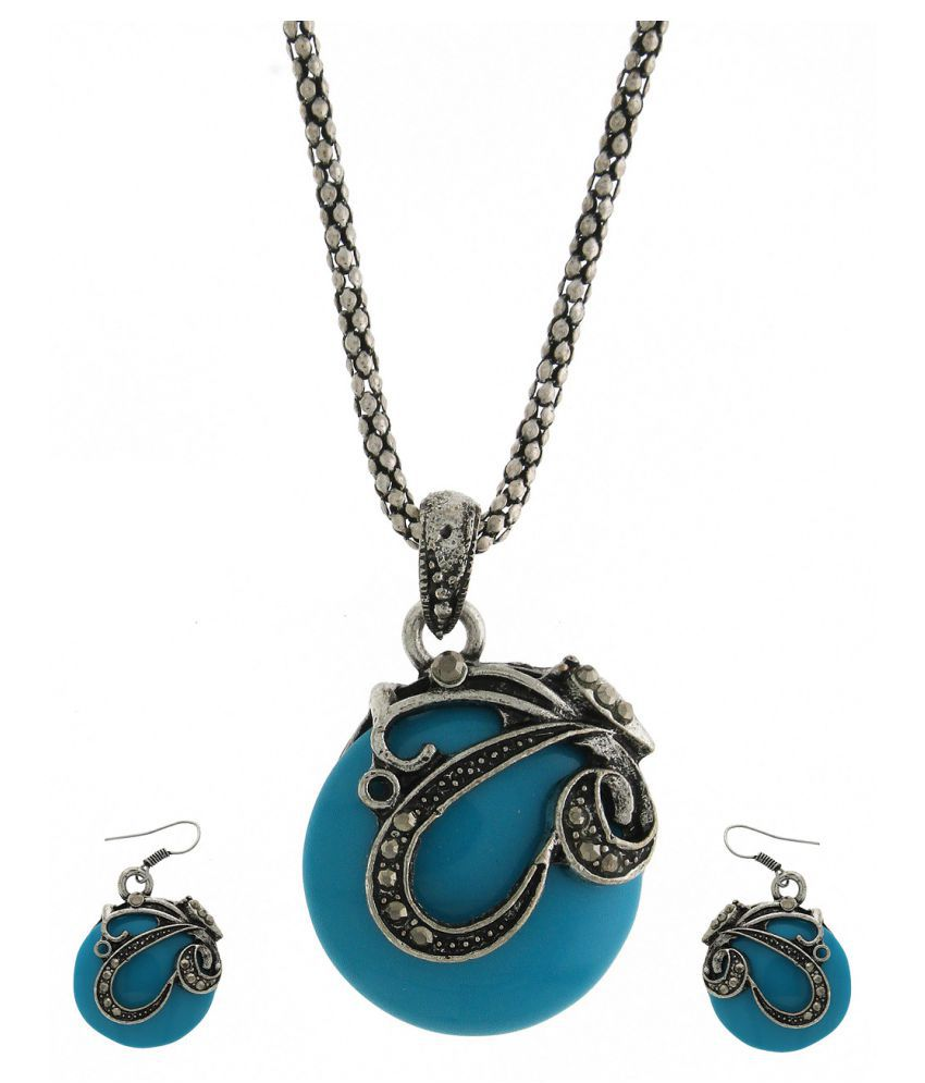 Anuradha Art Sky-Blue Colour Designer Wonderful Pendant Set For Women/Girls