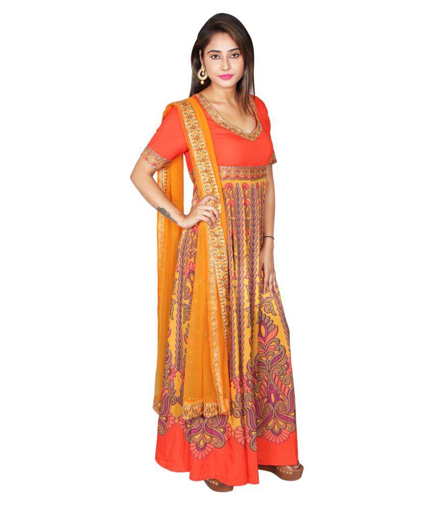 Flax Fashion Multicoloured Crepe Anarkali Kurti