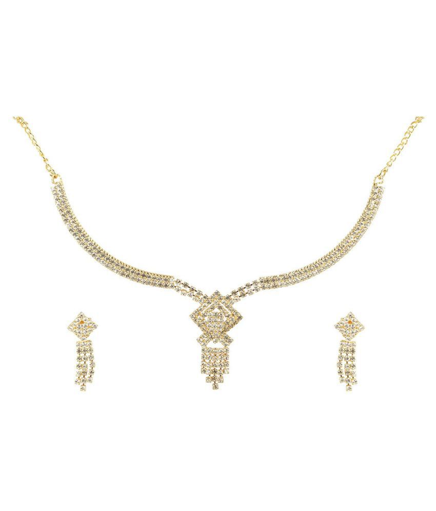 Antique American Diamond Necklace Set with Earrings for Women