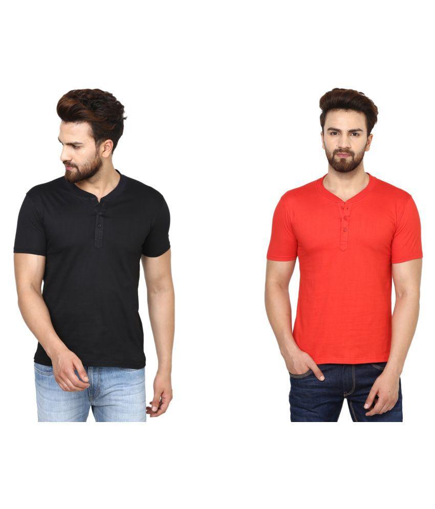BEN HUSHERS Multi Henley T-Shirt Pack of 2