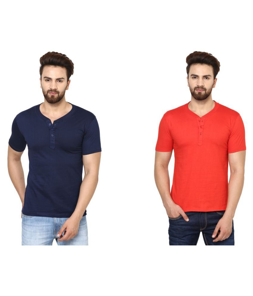 BEN HUSHERS Multi Henley T-Shirt Pack of 2