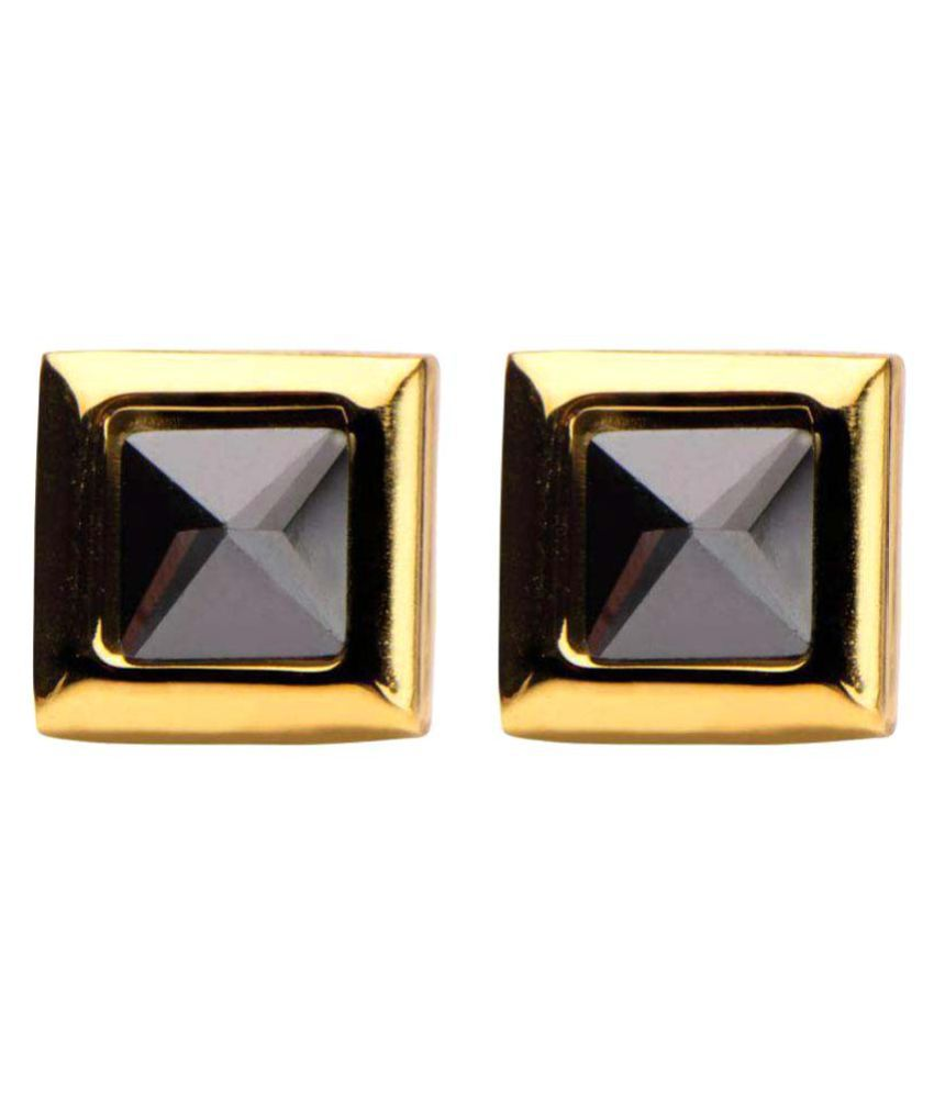 Inox Jewelry Gold Stainless Steel Black Pyramid Crystal Square Studs
